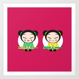 Funny Japanese Girls Art Print