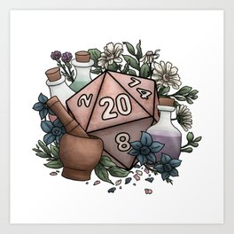 Alchemist D20 Tabletop RPG Gaming Dice Art Print