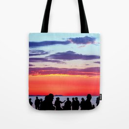Silhouettes in the sunset Tote Bag
