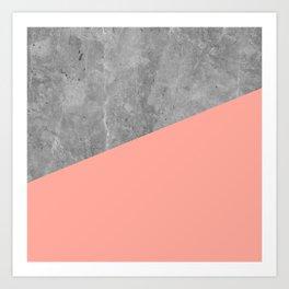 Coral Pink Concrete Art Print
