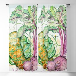 Red Beets and Squash Blackout Curtain