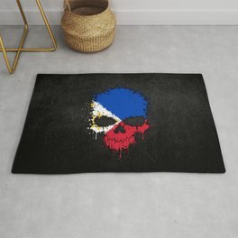 Flag of Philippines on a Chaotic Splatter Skull Rug