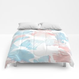 Pastel coral teal modern watercolor paint brushstrokes Comforters