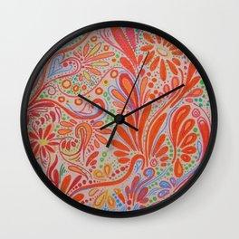 Fall Orange ~Ornate Flowers Wall Clock