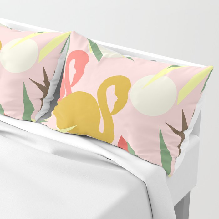 Flamingo jungle pink coral Pillow Sham