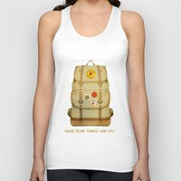 backpack Tank Tops featuring PACK AND GO by Je Suis un Lapin