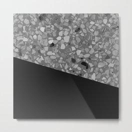 Terrazzo Texture Grey Black #7 Metal Print