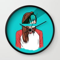 danny ivan Wall Clocks featuring danny lawrence by Ana Rocha