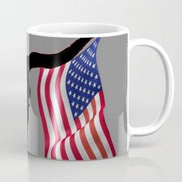 Patriotic American Flag Texas Longhorn Abstract Art Coffee Mug
