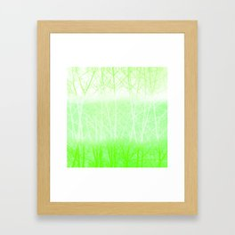 Frosted Winter Branches in Lime Green Framed Art Print
