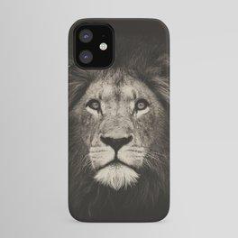 Portrait of a lion king - monochrome photography illustration iPhone Case