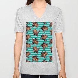 turtles in stripes Unisex V-Neck