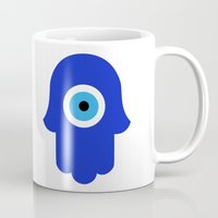 evil eye Mugs featuring Evil Eye by Marcaccini Studios