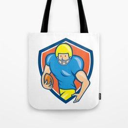 American Football Running Back Shield Cartoon Tote Bag