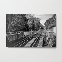 Black and White Tracks Metal Print