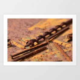 Rusty drill and nails Art Print
