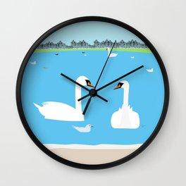 Round Pond Swans, Kensington Gardens | London, England, UK Wall Clock