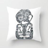 tiki Throw Pillows featuring Tiki  by AndreaGeddes