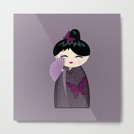 Purple Kokeshi Metal Print
