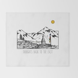 Thoughts Back To The East - Annapurnas, Nepal Throw Blanket