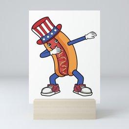 Dabbing Hot Dog Dab Dance USA Hotdog USA Patriotic Gift Mini Art Print