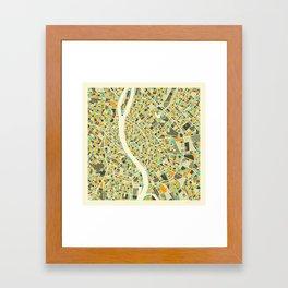 BUDAPEST MAP Framed Art Print