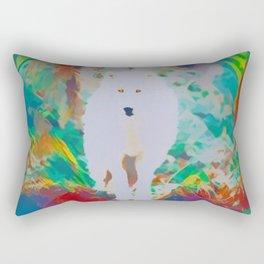 The White Beast in the Rainbow Rectangular Pillow