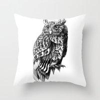 bioworkz Throw Pillows featuring Owl 2.0 by BIOWORKZ