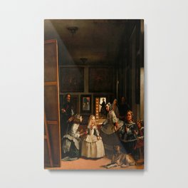 Diego Velázquez (Spanish, 1599-1660) - Title: LAS MENINAS (Spanish for The Ladies-in-waiting) - Date:1656 - Style: Baroque - Period: Golden age - Genre: genre painting - Media: Oil on canvas - Digitally Enhanced Version (2000 dpi) - Metal Print