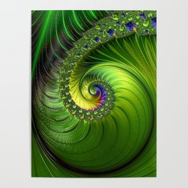 Green Luminescent fractal swirl Poster