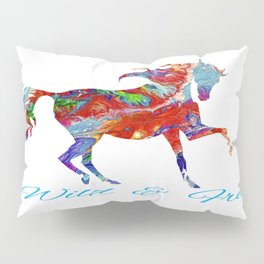 OLena Art Colorful Horse Design Wild and Free Pillow Sham