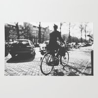 cycling Area & Throw Rugs featuring Cycling in Amsterdam by GF Fine Art Photography