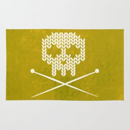 Knitted Skull (White on Yellow) Rug