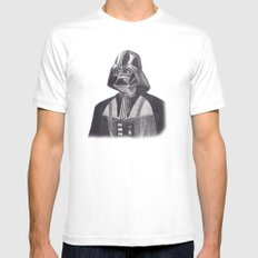 Darth Vader [Grayscale on White] Pencil Mens Fitted Tee LARGE White