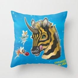 Goodnight Unicorn Zebra Throw Pillow