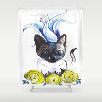 mew Shower Curtains featuring Lily Mew by Sarah