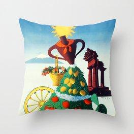 Vintage Sicily travel poster Throw Pillow