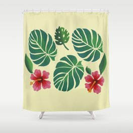 Hibiscuses and Palm Leaves Shower Curtain