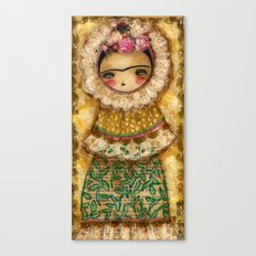 Frida In A Brown And Green Tehuana Mexican Traditional Dress Canvas Print