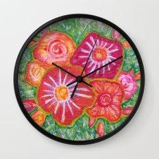 Orange Fantasy Flowers Wall Clock