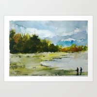 fishing Art Prints featuring Fishing by Baris erdem
