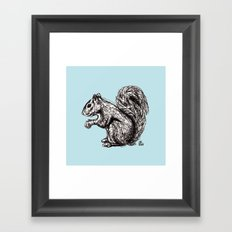 Blue Woodland Creatures - Squirrel Framed Art Print