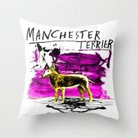 manchester Throw Pillows featuring Manchester Terier by Genco Demirer