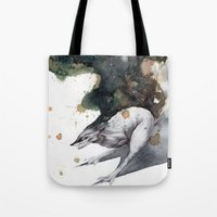 runner Tote Bags featuring Night Runner by Rubis Firenos