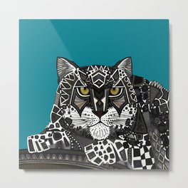 snow leopard teal Metal Print