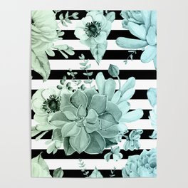 Succulents in the Garden Teal Blue Green Gradient with Black Stripes Poster