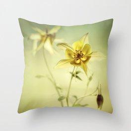 Yellow Columbines Throw Pillow