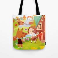 animal crossing Tote Bags featuring Animal Crossing by Sama Ma