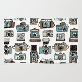 Hand drawn seamless pattern of old fashioned photo camera Rug