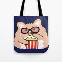 cinema Tote Bags featuring Cinema lovers by Tetchan